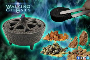 Iron Incense Burner Bowl Charcoal & Resin Set, Rituals Meditation Magick Wicca